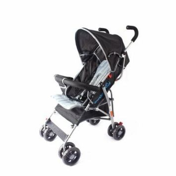 Wonder Buggy Dakota Baby Stroller With Bumper,Basket & Rounded Canopy - Solid Black