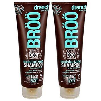 Bröö Moisturizing Shampoo (Pack of 2) With Beer, Shea Butter, Aloe Leaf and Caffeine, 8.5 fl. oz. each.