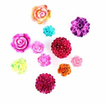 Iuhan 3D Rose Flower Nail Art Charm Beads Colorful Resin Nail Tips Manicure Wheel