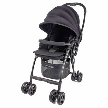 Wonder Buggy Nano Ultralight Compact Stroller with Reversible Handle (Black)