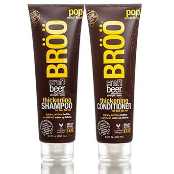 Bröö Thickening Shampoo and Bröö Thickening Conditioner Bundle With Aloe, Beer, and Olive Fruit, 8.5 fl. oz. each.