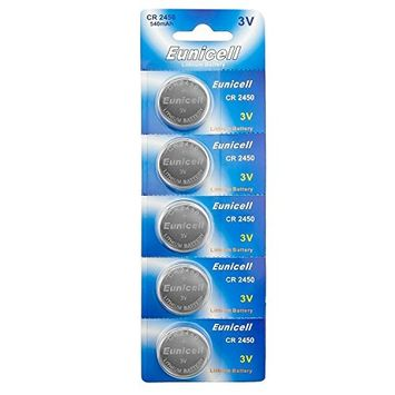 Eunicell CR2450 5029LC Lithium Blister Pack 3V 3 Volt Coin Cell Batteries (5 pcs)