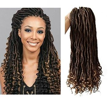 Curly Faux Locs Crochet Hair Braids Synthetic Hair Extension Soft Goddess Locs Wavy Curly End T27