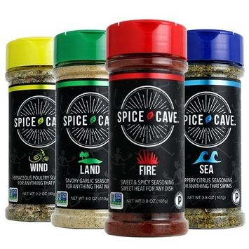 Spice Cave - Certified Paleo - 4 Pack Seasoning System - FIRE, LAND, SEA and WIND [FIRE, LAND, SEA and WIND]