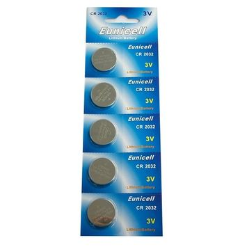 Eunicell CR2032 5004LC Lithium Blister Pack 3V 3 Volt Coin Cell Batteries (5 pcs)