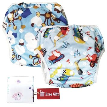 Swim Nappy Set: Pack of 2 Reusable Adjustable Swimming Diapers for 0 - 2yr Baby, Car + Monkey Designs
