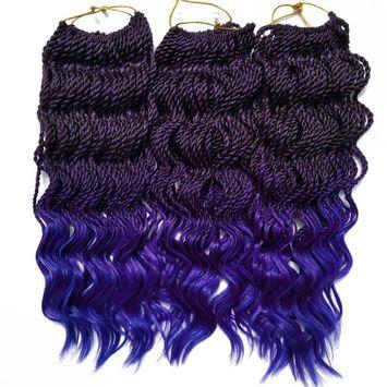 6Packs 18'' Wavy Senegalese Twist Crochet Braid Hair Wavy Ends Synthetic Hair Extensions for Black Women (18