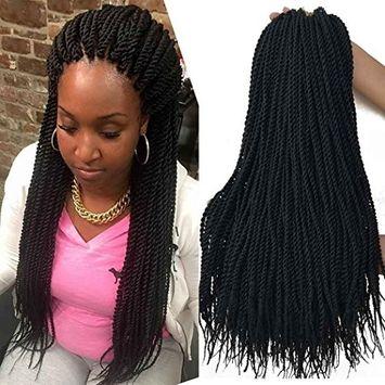 18 inch 8 Packs senegalese crochet braids 30strands/pack Synthetic Crochet Braiding Hair black senegalese twist hair []
