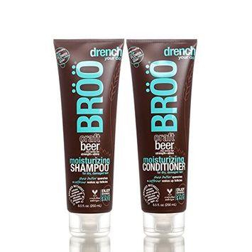 Bröö Moisturizing Shampoo and Bröö Moisturizing Conditioner Bundle With Beer, Shea Butter, Aloe Leaf, Caffeine and Olive Fruit Oil, 8.5 fl. oz. each.