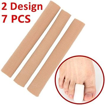 Dr.Koyama 7 PCS Adjustable Gel Tube Finger Protector Toe Separators for Bunions Sore Corns Hammer toes Gel Toe Separators Protector Toe Protectors