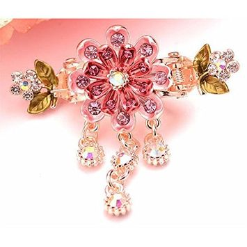 Painted Flower 8 Petal Metal Hair Claw Jeweled Dangles Sequins on Dual Spring Gold Metal Clip