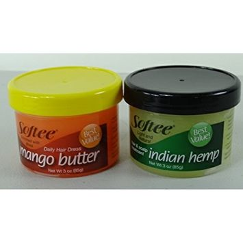 Softee Mango Butter and Indian Hemp Bundle Hair and Scalp Treatment 3 ounce each, 6 Ounce Total
