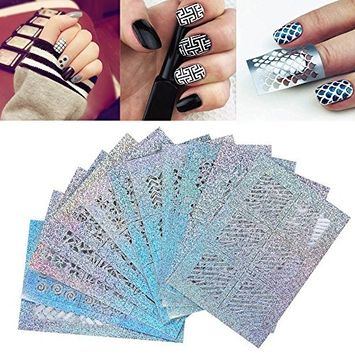 Nail Stickers,Fenleo 24 Sheets Nail Hollow Irregular Grid Stencil Reusable Manicure Stickers