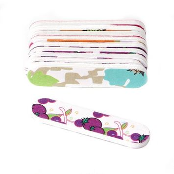 CUTEQ 2-IN-1 Camo Fruits Printing Professional Nail Files 2 Ways Nail Files and Buffers Fingernail Files 10-Pack