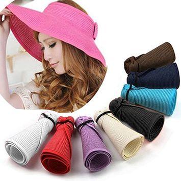 Girl12Queen Women's Summer Wide Brim Roll Up Foldable Sun Beach Straw Braid Visor Sun Hat
