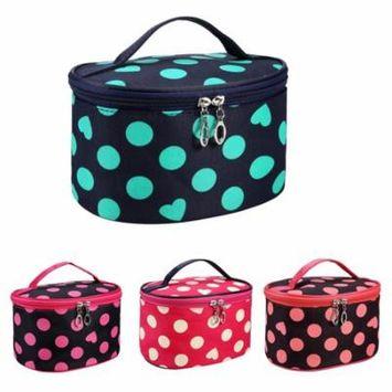 Girl12Queen Tote Women Polka Dot Heart Cosmetic Storage Bag Travel Makeup Organizer Pouch