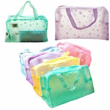 Girl12Queen Floral Print Transparent Waterproof Cosmetic Toiletry Bathing Pouch Makeup Bag