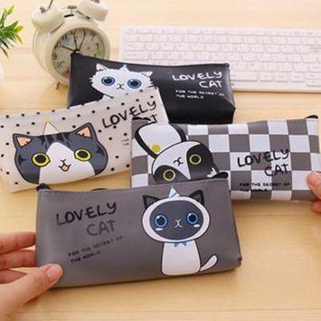 Girl12Queen Cute Cartoon Cat Pencil Bag Waterproof Makeup Pouch Case Kids School Supplies