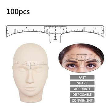 100pcs Disposable Eyebrow Ruler Sticker Microblading Makeup Tools, Adhesive Eyebrow Measurement Ruler Template Shaper Guide for Makeup Tattoo