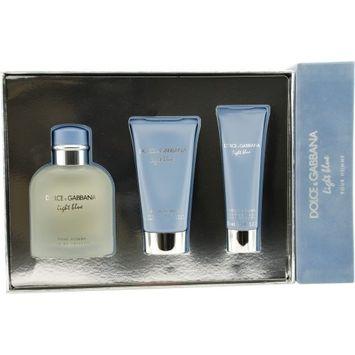 Light Blue Cologne for Men 3pc Set Eau De Toilette Spray 4.2 Oz, Shower Gel 1.6 Oz, After Shave Balm 2.5 Oz by Dolce & Gabbana