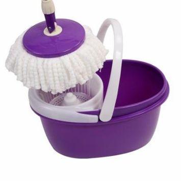 GHP Purple 360° Rotating Washable Microfiber Floor Mop with Plastic Bucket & 2 Heads
