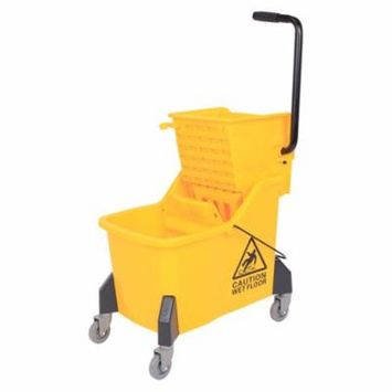 GHP 44-Quarts Capacity Yellow Plastic & Steel Side Press Mop Bucket with Wringer