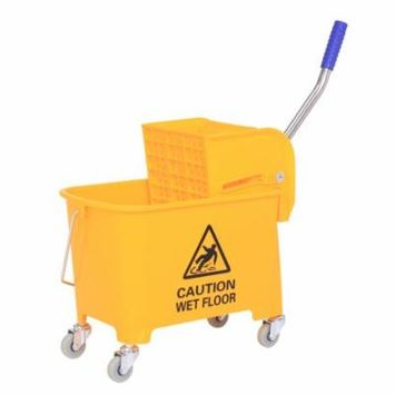GHP 5-Gallon Bucket Capacity Yellow Plastic & Steel Press Mop Bucket with Wringer