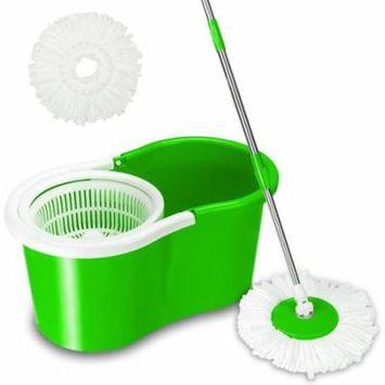 GHP Green PP ABS & Microfiber 360-Degree Rotation Mop w Cotton Heads Mop Rod & Bucket