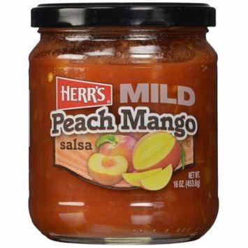 Herr's Mild Peach Mango Salsa 16 oz Glass Jars - Pack of 12