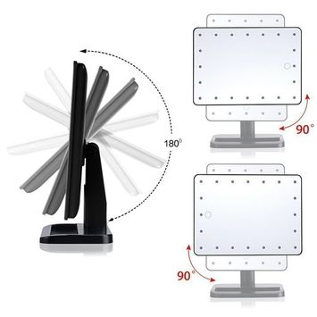 Lighted Makeup Mirror With USB Touch Screen Lighted Vanity Mirror 180 Degree Free Rotation LED Makeup Mirror with Removable 10x Magnifying Spot Mirror, Portable LED Magnified Mirror