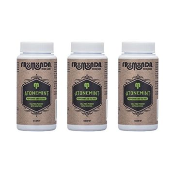 Fromonda Atone Mint Talc Free Body Powder With Cooling Menthol - Natural Dry Deodorant With Spearmint & Tea Tree Oil Essential Oils – 1.4 OZ Pack of 3