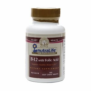 NutraLife Vitamin B-12 with Folic Acid, Kosher, Tablets Strawberry