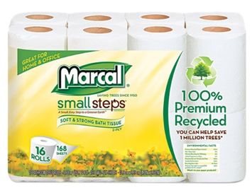 Marcal Small Steps 16466 100 Percent Premium Recycled 2-Ply Toilet Tissue 16 Rolls per Pack