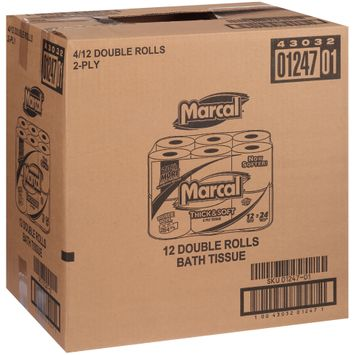 Marcal® Thick & Soft 2-Ply Double Rolls Bath Tissue 4-12 ct. Box