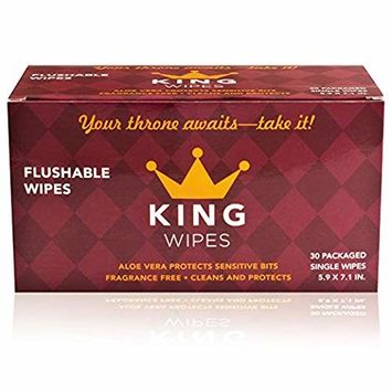 KING Flushable Individually Wrapped Wipes with Aloe & Vitamin E | 30 Travel Wipes
