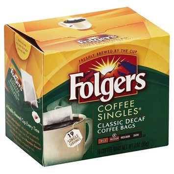 Folgers Classic Medium Roast Decaf Coffee, 19 Count Singles Serve (3 Pack)