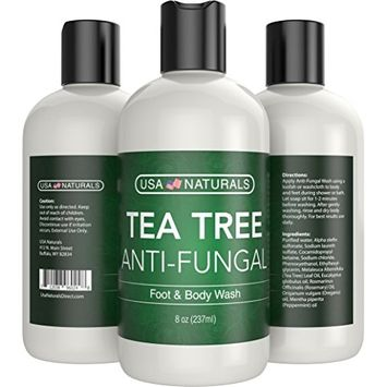 Antifungal Tea Tree Oil Body Wash - Antibacterial Wash Helps Eliminate Body Odor, Athlete's Foot, Acne, Toenail Fungus & Jock Itch Soothes Body Itch, Eczema & Skin Irritations-Premium Anti-fungal Soap [Tea Tree Foot & Body Wash]