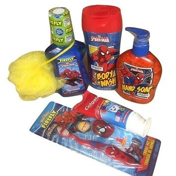 Kids Superheros Spider-man Bath Gift Set Includes 6 Items: Toothbrush, Hand Soap, Body Wash, sponge, Toothpaste and Mouthwash