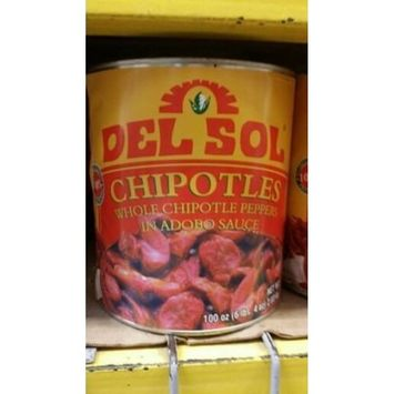 Del Sol Chipotle Peppers in Adobo Sauce 100 Oz (6 Pack)