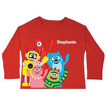 Personalized Yo Gabba Gabba! Friends Toddler Red Long-Sleeve Tee