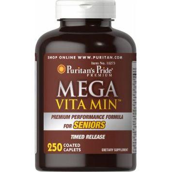 Puritan's Pride Mega Vita Min Multivitamin for Seniors Timed Release-250 Coated Caplets