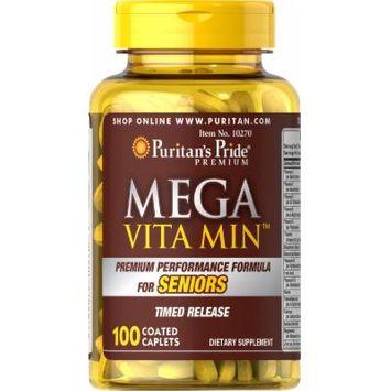 Puritan's Pride Mega Vita Min Multivitamin for Seniors Timed Release-100 Coated Caplets