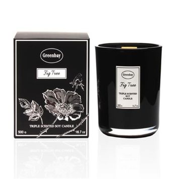 Greenbay EFC-10040 16.6 oz Triple Scented Pure Soy Candle with Wood Wick - Fig Tree Fragrance