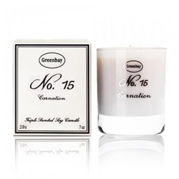 Greenbay EBWC-10015 7 oz Triple Scented Pure Soy Candle No. 15 Carnation Fragrance