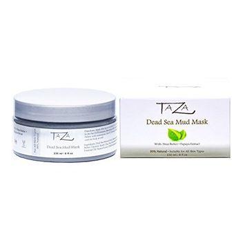 Premium Taza Natural Dead Sea Mud Mask, 8 fl oz (230 ml) ♦ Bright and Radiant Facial Skin ♦ With: Dead Sea Mud, Shea Butter, Grapeseed Oil, Vitamin E, Glycerin, Papaya Extract