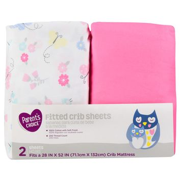Parent's Choice Fitted Crib Sheets, Butterfly, 2 Pack