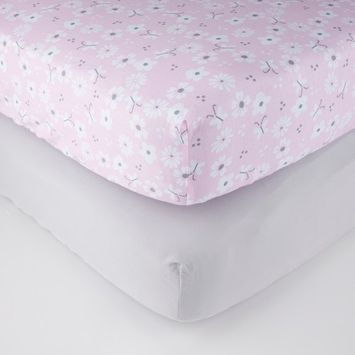 Parent's Choice Fitted Crib Sheets, Gray Flower, 2 Pack [name: actual_color value: actual_color-grayflower]