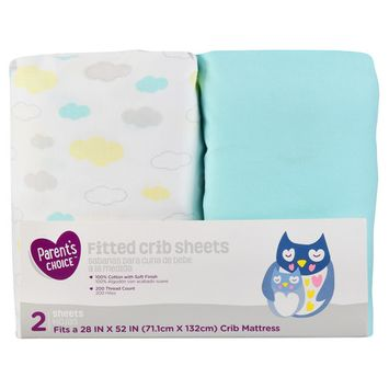 Parent's Choice Fitted Crib Sheets, Blue, 2 Pack