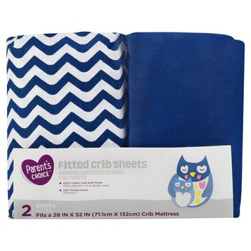 Parent's Choice Fitted Crib Sheets, Navy Chevron, 2 Pack