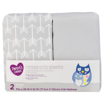 Parent's Choice Fitted Crib Sheets, Gray, 2 Pack